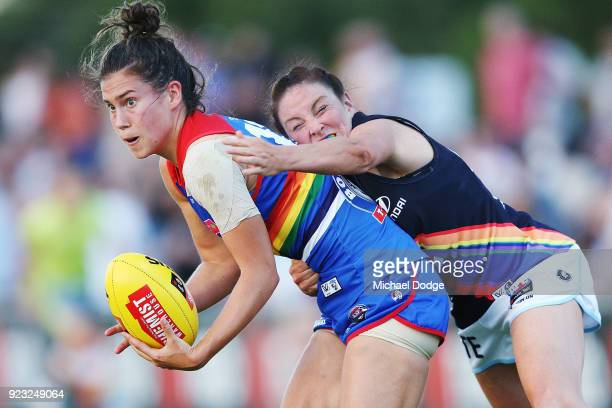 Tilly LucasRodd of the Blues tackles Libby Birch of the Bulldogs during the round four AFLW match between the Western Bulldogs and the Carlton Blues...