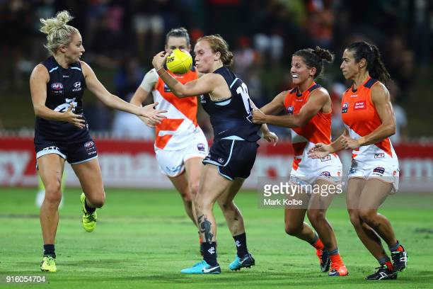Tilly LucasRodd of the Blues wins the ball during the round 20 AFLW match between the Greater Western Sydney Giants and the Carlton Blues at...