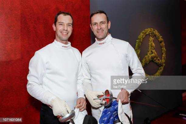 Tilo Hurtig and acrobatic flight star Matthias Dolderer during the event 'FechtOlympiasiegerin fliegt mit Daimler Kunstflugass Revanche beim Club der...