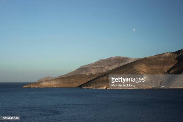 tilos landscape - dodecanese islands stock photos and pictures