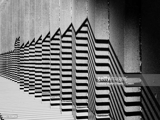 Tilt Image Of Railing Shadow On Staircase