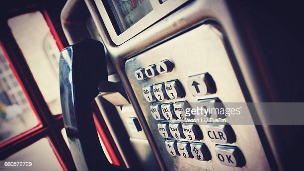 Tilt Image Of Telephone In Booth