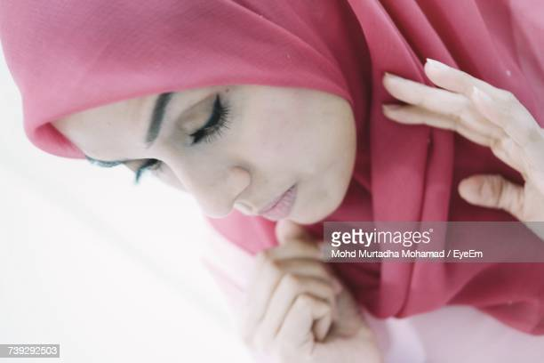 Tilt Image Of Woman Wearing Hijab