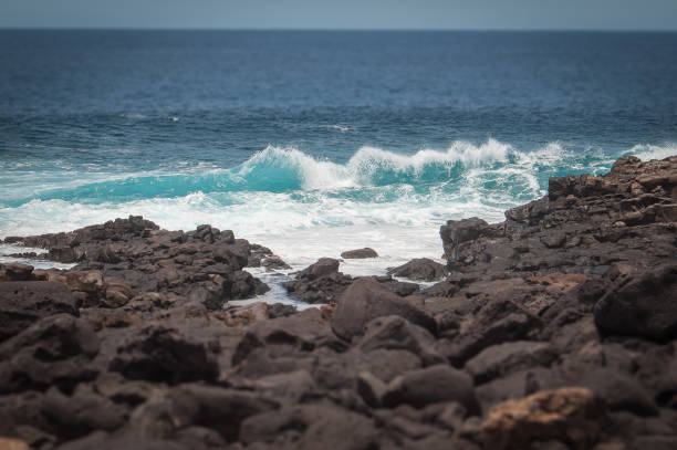 Tilt Shift Effect Of Oceanic Waves Against The Boca De Abaco Volcanic Rocks Coast, Lanzarote