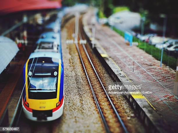 Tilt Shift Image Of Train At Railway Station