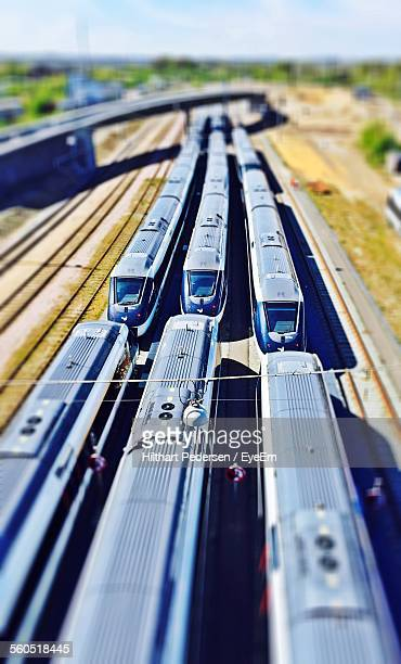 tilt-shift image of trains at shunting yard - shunting yard stock photos and pictures