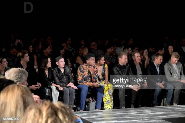 Tim Adam Michelle Marks Anthony Davolos Ben Harris and Mark Brashear at the John Varvatos Fashion Show at South Coast Plaza on October 7 2017 in...