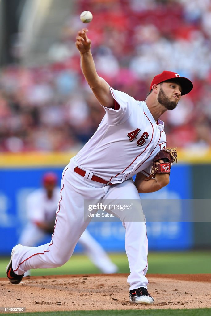 Tim Adleman #46 of the Cincinnati Reds pitches in the first inning against the Washington Nationals at Great American Ball Park on July 14, 2017 in Cincinnati, Ohio.