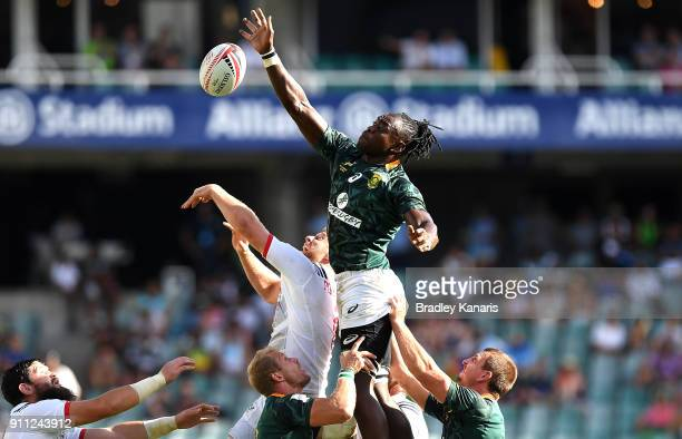 Tim Agaba of South Africa competes at the lineout in the Mens semi-final match against the USA during day three of the 2018 Sydney Sevens at Allianz...