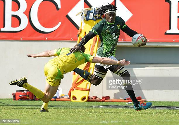 Tim Agaba of South Africa during the Plate final between South Africa and Australia on Day 3 of the HSBC Paris Sevens at Stade Jean Bouin on May 15...