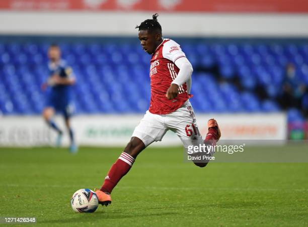 Tim Akinola of Arsenal during the Leasingcom Cup match between Ipswich Town and Arsenal U21 at Portman Road on September 08 2020 in Ipswich England