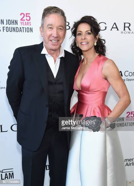 Tim Allen and Jane Hajduk attend the 26th annual Elton John AIDS Foundation Academy Awards Viewing Party sponsored by Bulgari celebrating EJAF and...