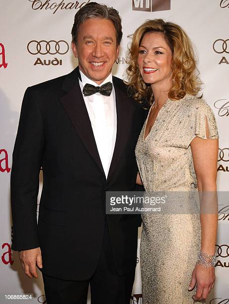 Tim Allen and Jane Hajduk during 14th Annual Elton John AIDS Foundation Oscar Party Cohosted by Audi Chopard and VH1 Arrivals at Pacific Design...