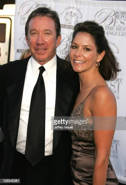 Tim Allen and Jane Hajduk during Robb Reports Best of the Best Los Angeles Arrivals at Hangar 8 in Santa Monica California United States