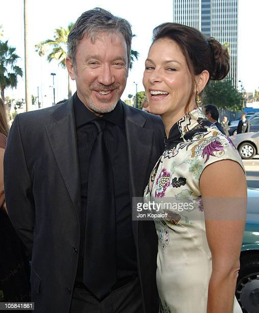 Tim Allen and Jane Hajduk during Wicked Los Angeles Opening Night Arrivals at Pantages Theatre in Hollywood California United States