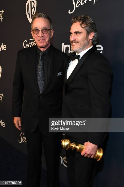 Tim Allen and Joaquin Phoenix attend The 2020 InStyle And Warner Bros 77th Annual Golden Globe Awards PostParty at The Beverly Hilton Hotel on...