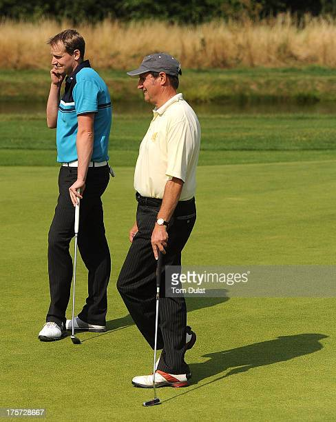 Tim Allen and Paul Hinton of Chesterton Valley Golf Club line up a putt on the 3rd green during the Golfplan Challenge Regional Qualifier at The Vale...