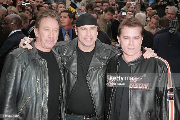 Tim Allen John Travolta and Ray Liotta during 'Wild Hogs' London Premiere Red Carpet at Odeon West End in London Great Britain