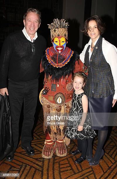 Tim Allen Nteliseng Nkhela as Rafiki daughter Elizabeth and wife Jane Hajduk pose backstage at The Lion King on Broadway at The Minskoff Theater on...