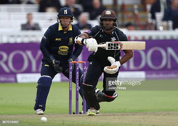 Tim Ambrose of Warwickshire keeps wicket as Kumar Sangakkara of Surrey bats during the Royal London oneday cup final between Warwickshire and Surrey...