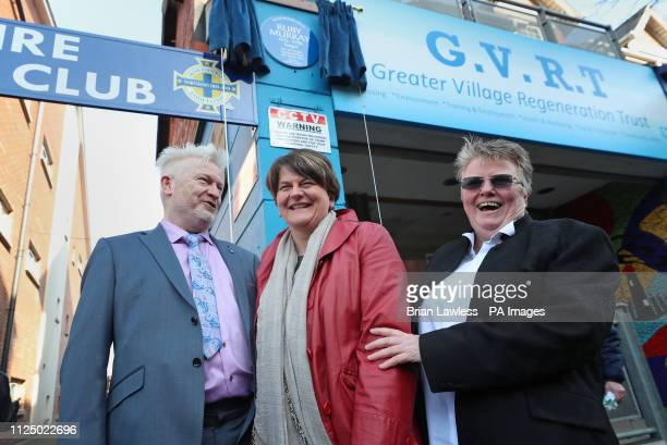 Tim and Julie Murray the son and daughter of Ruby Murray with DUP leader Arlene Foster at an unveiling of a blue plaque in honour of the celebrated...