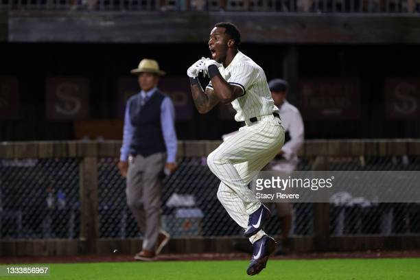 Tim Anderson of the Chicago White Sox celebrates a walk off two run home run during the ninth inning against the New York Yankees at the Field of...