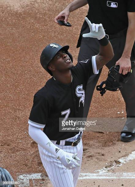 Tim Anderson of the Chicago White Sox celebrates after hitting a two run home run in the 2nd inning against the Pittsburgh Pirates at Guaranteed Rate...