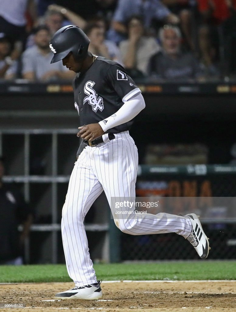 Tim Anderson #7 of the Chicago White Sox crosses the plate to score a run in the 7th inning against the St. Louis Cardinals at Guaranteed Rate Field on July 11, 2018 in Chicago, Illinois.