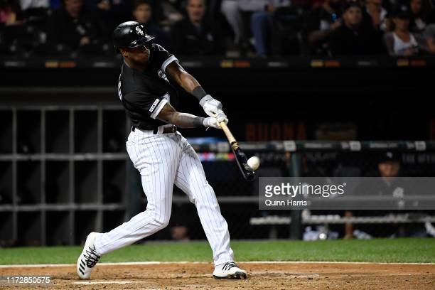 Tim Anderson of the Chicago White Sox hits a two run home run in the fifth inning against the Los Angeles Angels of Anaheim at Guaranteed Rate Field...