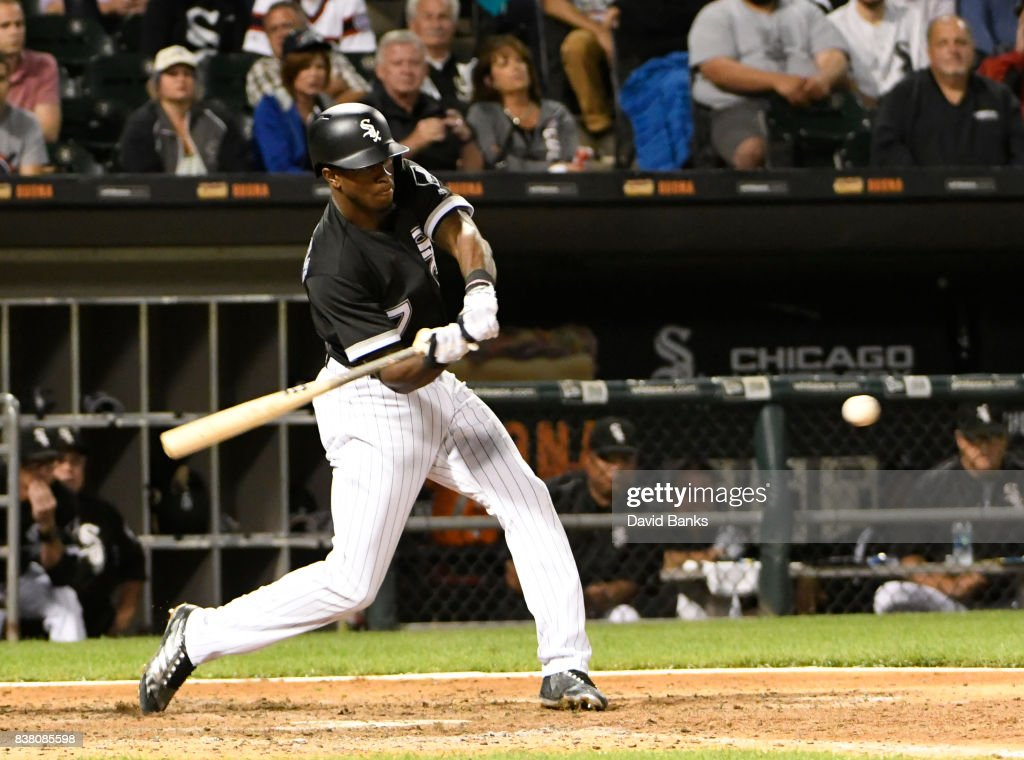 Tim Anderson #7 of the Chicago White Sox hits a walk-off, game-winning single against the Minnesota Twins during the ninth inning on August 23, 2017 at Guaranteed Rate Field in Chicago, Illinois. The White Sox defeated the Twins 4-3.