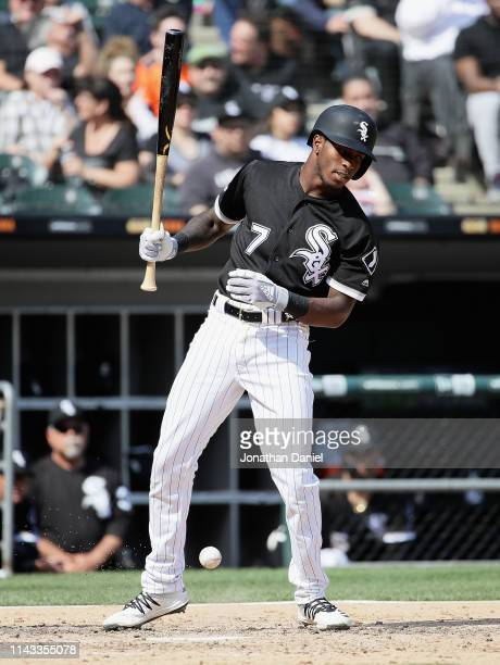 Tim Anderson of the Chicago White Sox is intentionally hit by a pitch in the 6th inning against the Kansas City Royals at Guaranteed Rate Field on...