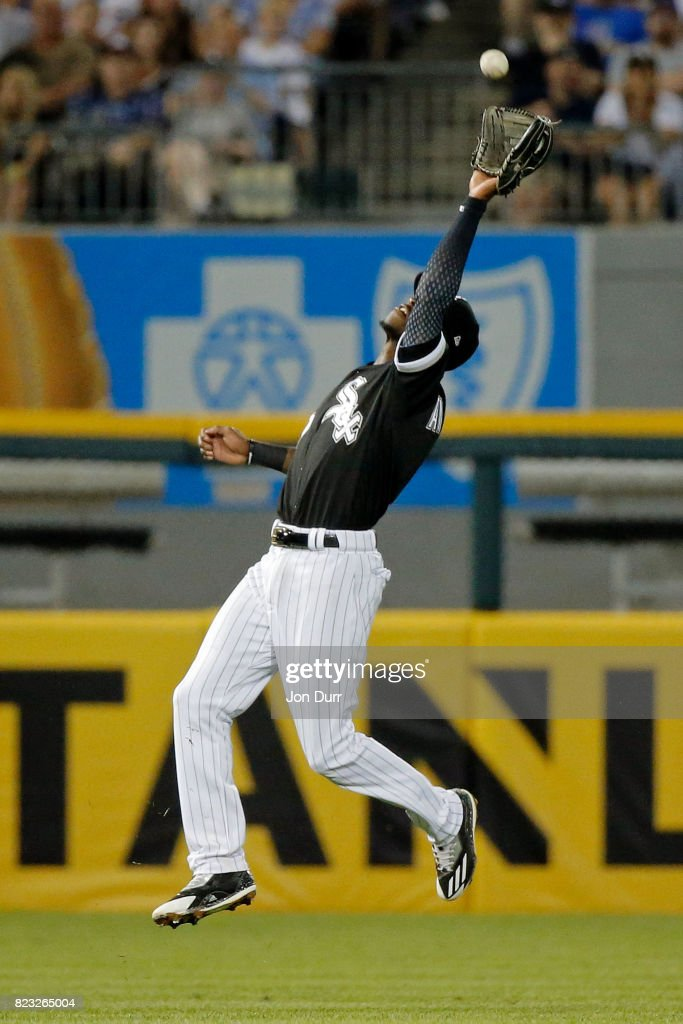 Tim Anderson #7 of the Chicago White Sox makes a catch for an out on a ball hit by Ian Happ #8 of the Chicago Cubs (not pictured) during the fifth inning at Guaranteed Rate Field on July 26, 2017 in Chicago, Illinois.