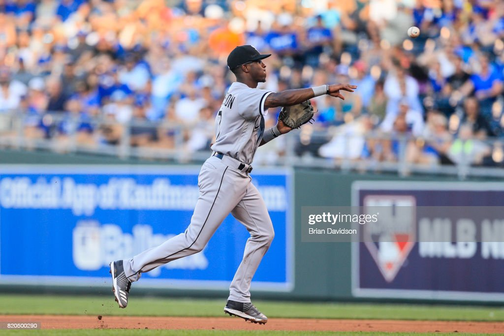 Tim Anderson #7 of the Chicago White Sox makes a play to first against the Kansas City Royals during the game at Kauffman Stadium on July 21, 2017 in Kansas City, Missouri.