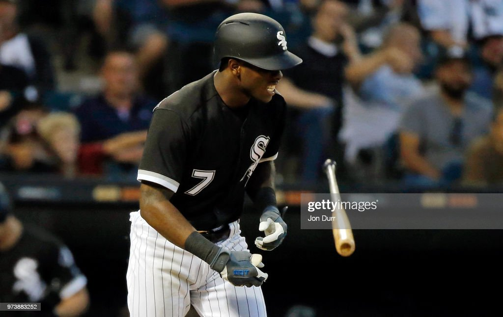 Tim Anderson #7 of the Chicago White Sox reacts after getting hit by a pitch thrown by Trevor Bauer #47 of the Cleveland Indians (not pictured) during the fifth inning at Guaranteed Rate Field on June 13, 2018 in Chicago, Illinois.