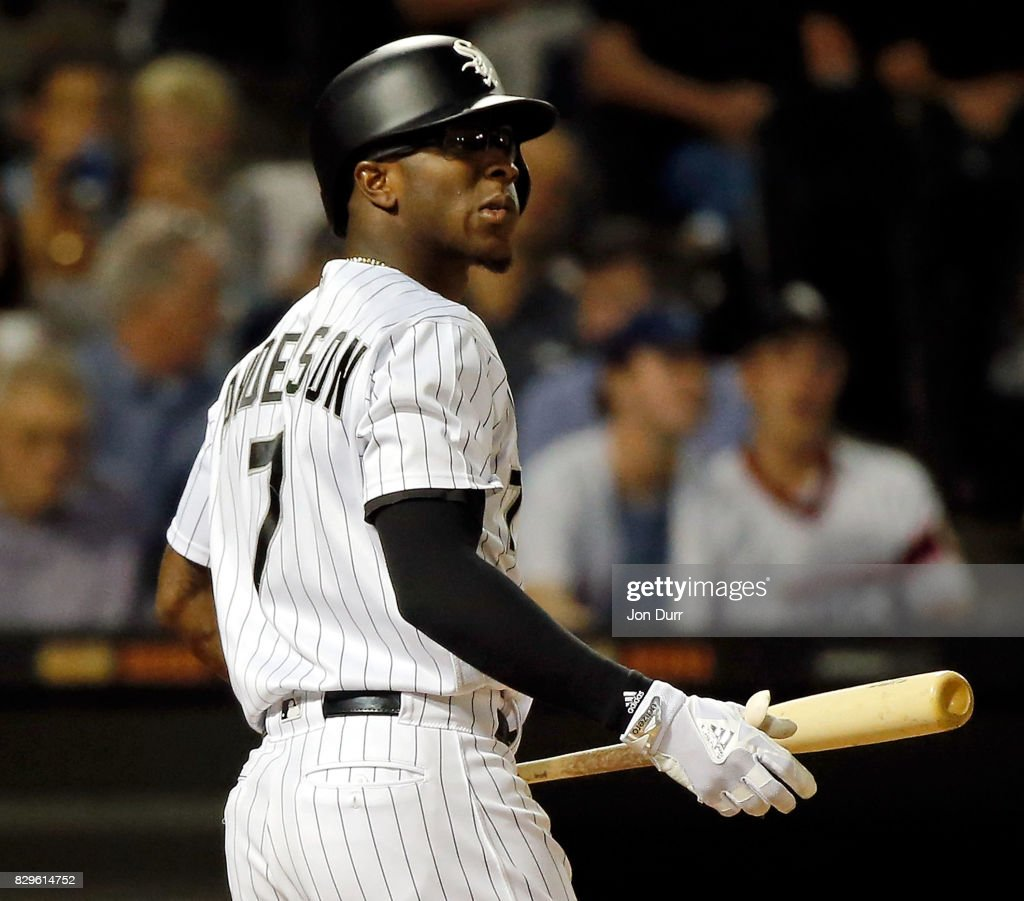 Tim Anderson #7 of the Chicago White Sox reacts after striking out against the Houston Astros to end the fourth inning at Guaranteed Rate Field on August 10, 2017 in Chicago, Illinois.