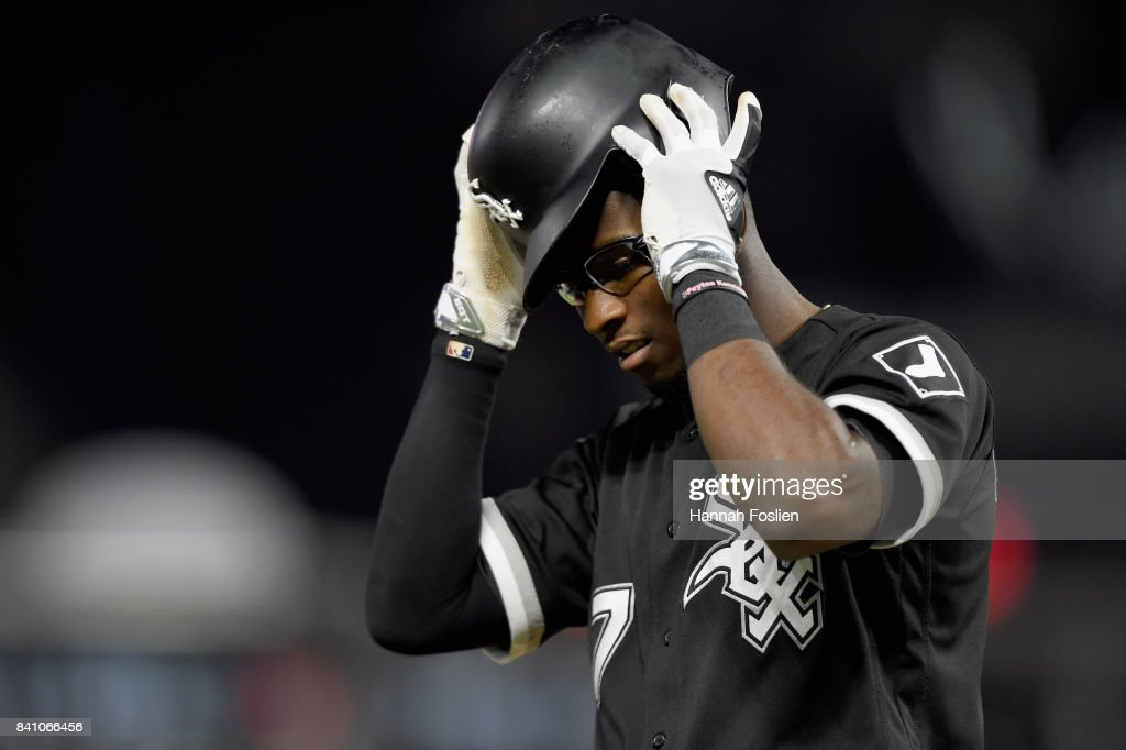Tim Anderson #7 of the Chicago White Sox reacts to striking out against the Minnesota Twins with the bases loaded during the fourth inning of the game on August 30, 2017 at Target Field in Minneapolis, Minnesota. The Twins defeated the White Sox 11-1.