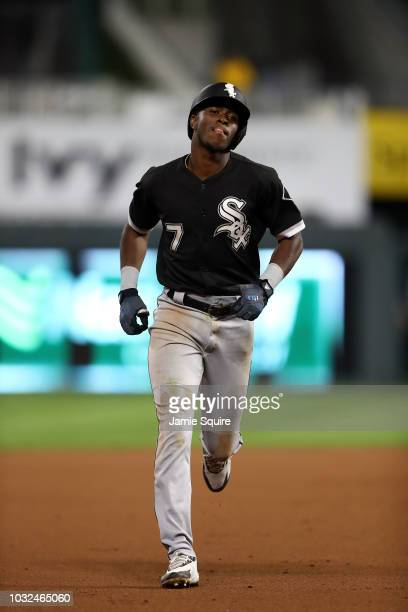 Tim Anderson of the Chicago White Sox rounds the bases after hitting a tworun home run during the 12th inning of the game against the Kansas City...