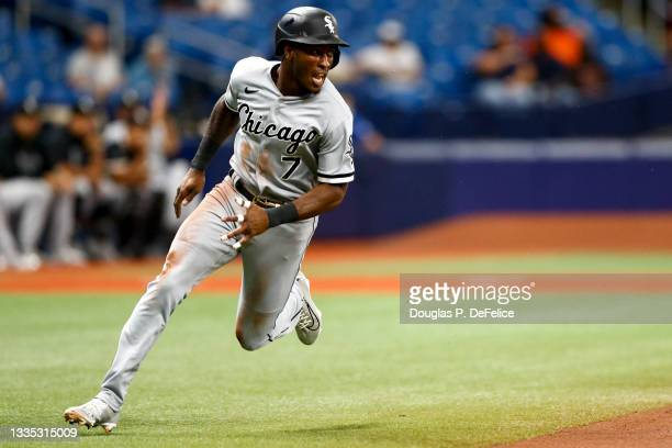 Tim Anderson of the Chicago White Sox rounds the bases on an RBI double off the bat of Luis Robert during the first inning against the Tampa Bay Rays...