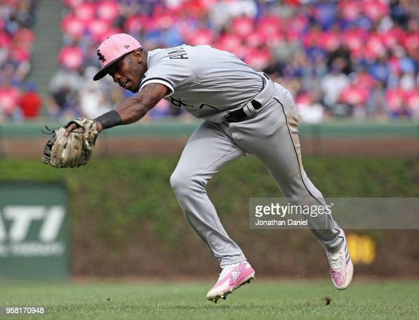 Tim Anderson of the Chicago White Sox snags a line drive by Ben Zobrist of the Chicago Cubs for an out in the 7th inning at Wrigley Field on May 13,...