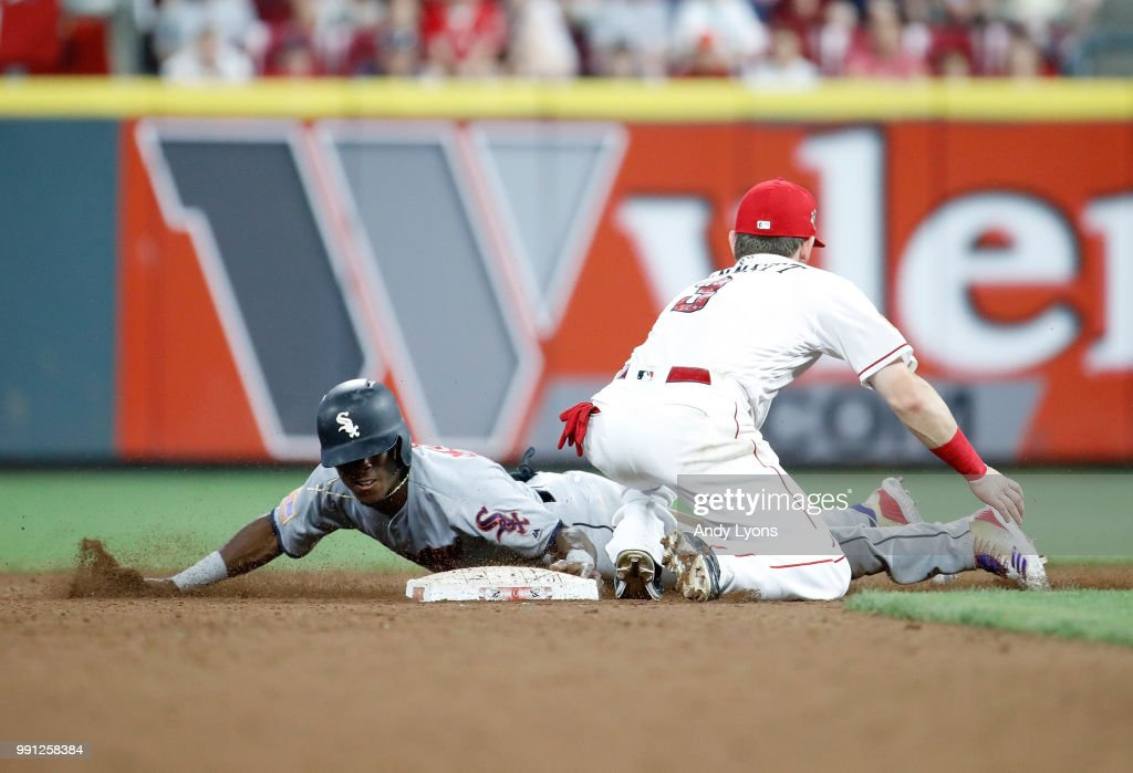 Tim Anderson #7 of the Chicago White Sox steals second base in the 12th inning against the Cincinnati Reds at Great American Ball Park on July 3, 2018 in Cincinnati, Ohio.
