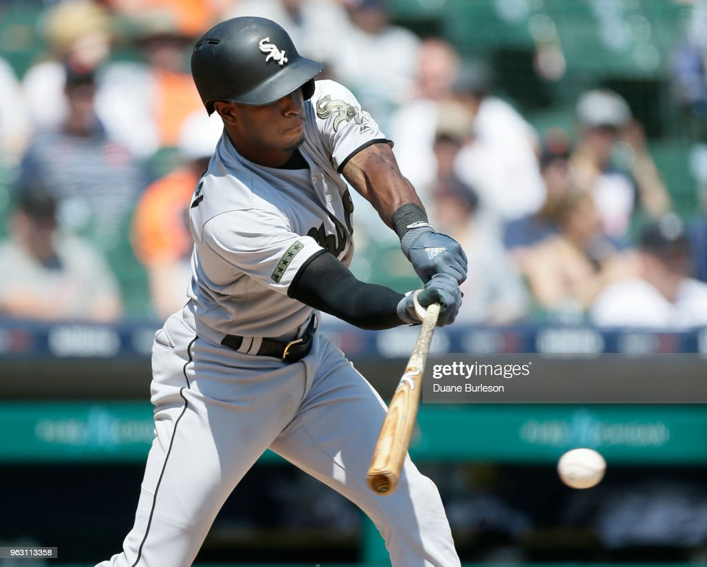 Tim Anderson #7 of the Chicago White Sox strikes out against the Detroit Tigers during the eighth inning at Comerica Park on May 27, 2018 in Detroit, Michigan. The Tigers defeated the White Sox 3-2.