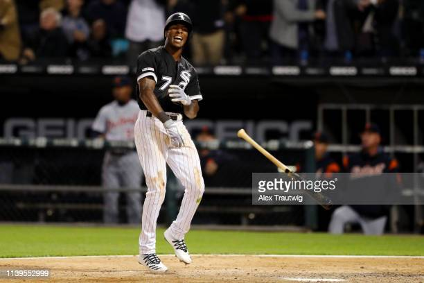 Tim Anderson of the Chicago White Sox throws his bat after hitting a walk off home run in the ninth inning to beat the Detroit Tigers at Guaranteed...