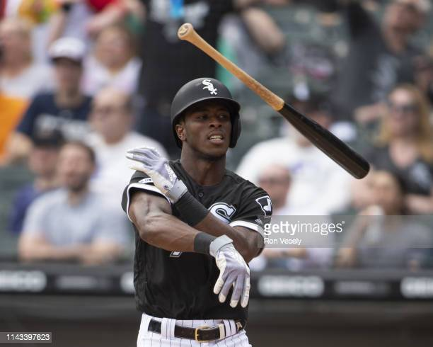 Tim Anderson of the Chicago White Sox throws his bat as he reacts after hitting a tworun home run in the fourth inning against the Kansas City Royals...