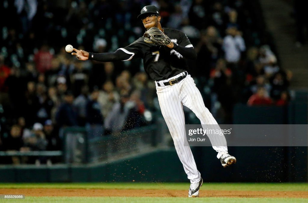 Tim Anderson #7 of the Chicago White Sox throws to first base for the final out of the game against the Los Angeles Angels of Anaheim during the ninth inning at Guaranteed Rate Field on September 28, 2017 in Chicago, Illinois. The Chicago White Sox won 5-4.