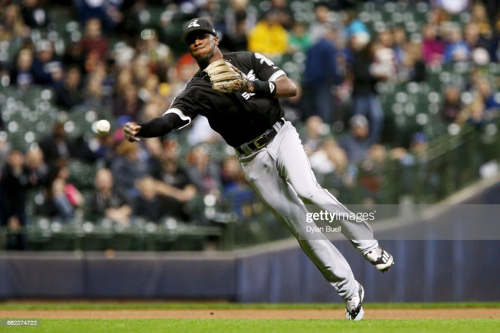 Tim Anderson #7 of the Chicago White Sox throws to first base in the fifth inning against the Milwaukee Brewers during an exhibition game at Miller Park on March 31, 2017 in Milwaukee, Wisconsin.