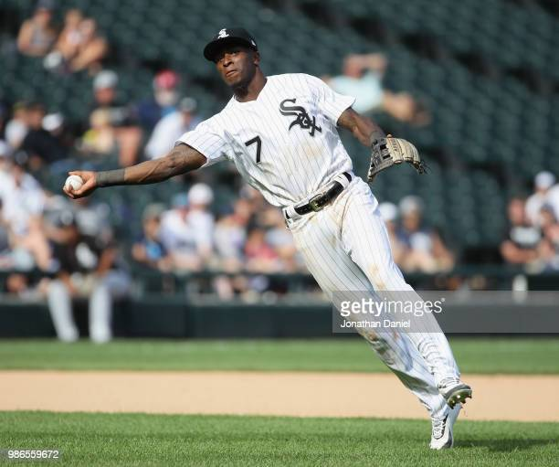 Tim Anderson of the Chicago White Sox tries to throw out a Minnesota Twins runner at Guaranteed Rate Field on June 28 2018 in Chicago Illinois The...