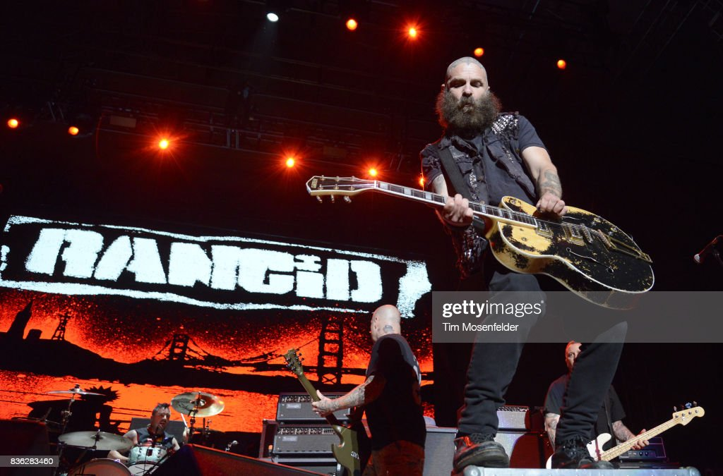 Tim Armstrong of Rancid performs during the 'From Boston to Berkeley' tour at University of California, Berkeley on August 20, 2017 in Berkeley, California.