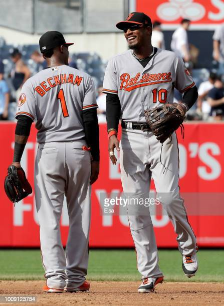 Tim Beckham and Adam Jones of the Baltimore Orioles celebrate the 75 win over the New York Yankees at Yankee Stadium on August 1 2018 in the Bronx...