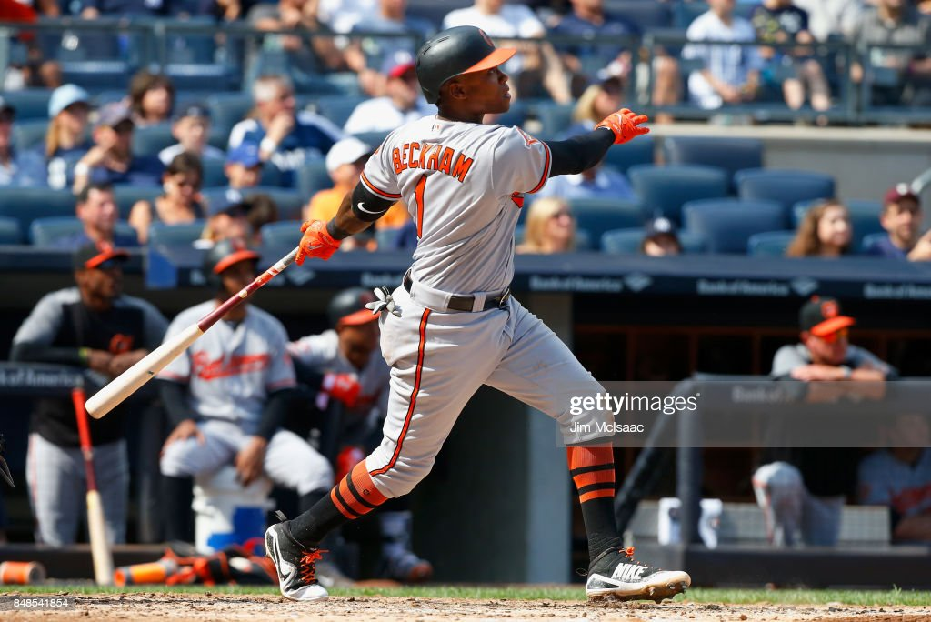 Tim Beckham #1 of the Baltimore Orioles follows through on a fourth inning three run home run against the New York Yankees at Yankee Stadium on September 17, 2017 in the Bronx borough of New York City.