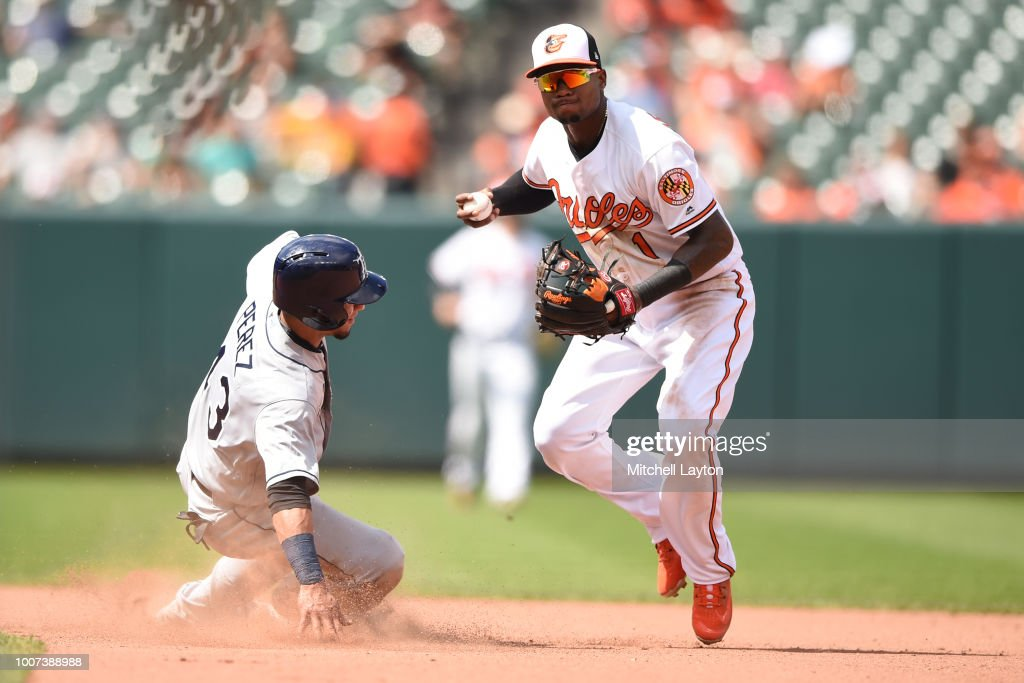 Tim Beckham #1 of the Baltimore Orioles forces out Michael Perez #43 of the Tampa Bay Rays on a ball hit by Adeiny Hechavarria #11 (not pictured) in the seventh inning during a baseball game against the Baltimore Orioles at Oriole Park at Camden Yards on July 29, 2018 in Baltimore, Maryland.